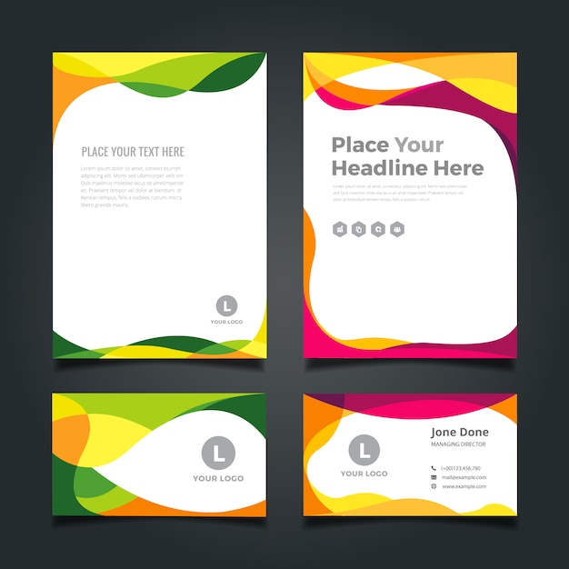 Business stationery design Free Vector