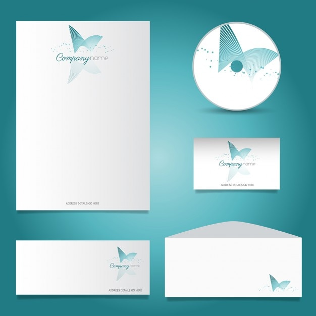 Business Stationery Set With Turquoise Logo Vector Free