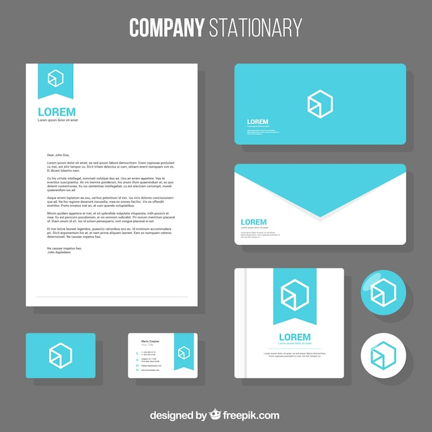 business stationery template with geometric design vector free
