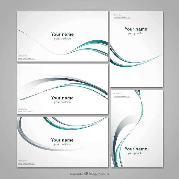 Elegant Business Stationery Template Free Vector  Line Card Template