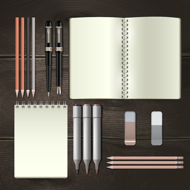 Business stationery tools mockup set Free Vector