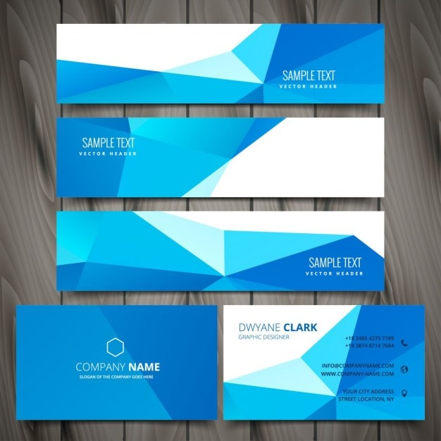 business stationery with banners and business cards vector free