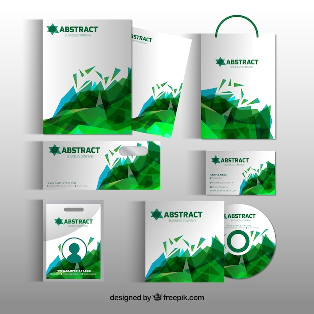 Business stationery with green geometric shapes