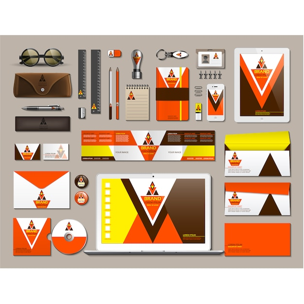 Business stationery with orange design Free Vector