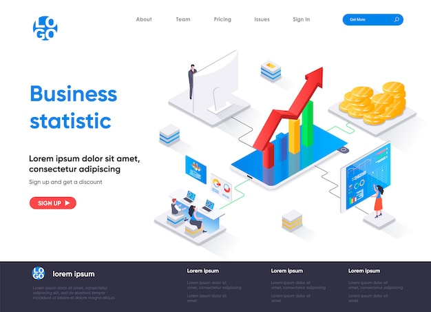 ビジネス統計等尺性ランディングページ Premiumベクター