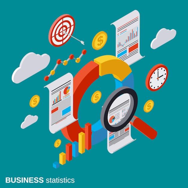 Business statistics isometric vector concept illustration Premium Vector
