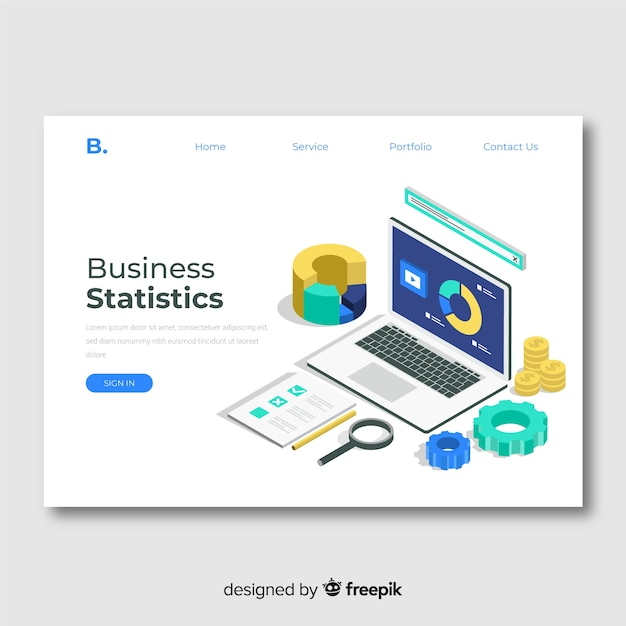 Business statistics landing page template Free Vector