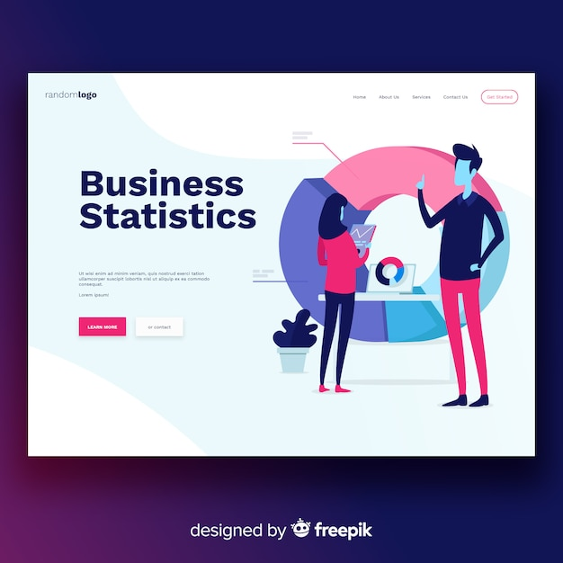 Business statistics landing page Free Vector