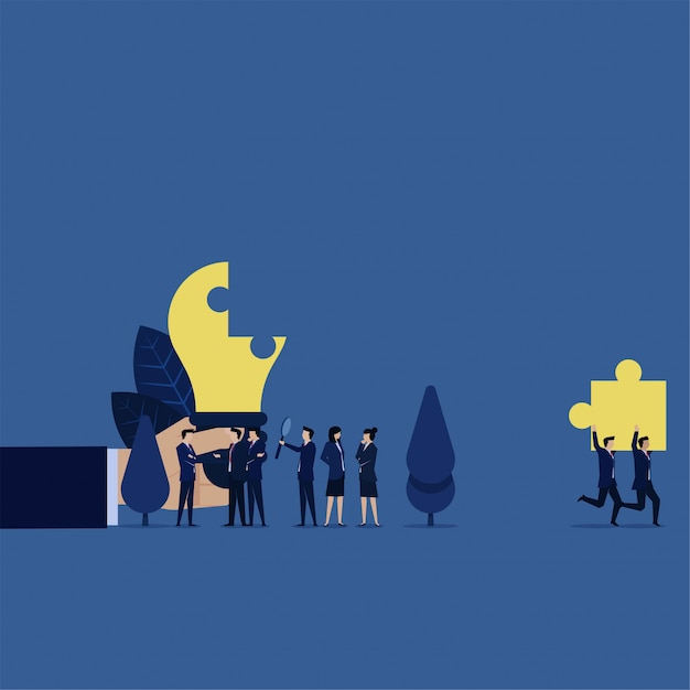 Business steal pieces of idea while team discussing about plagiarism. Premium Vector
