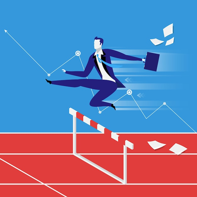 Business steeplechase concept vector illustration in flat style Premium Vector