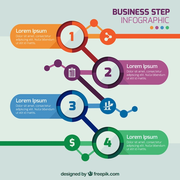 business step infographic template vector free download
