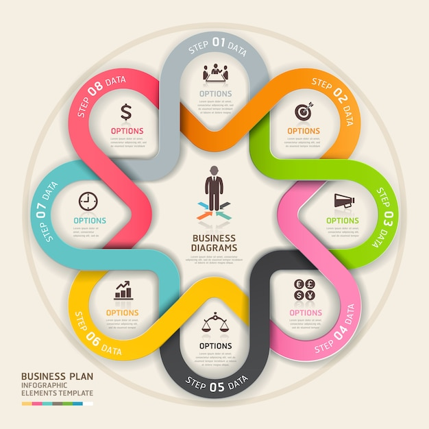 Business step up plan circle origami style. Premium Vector