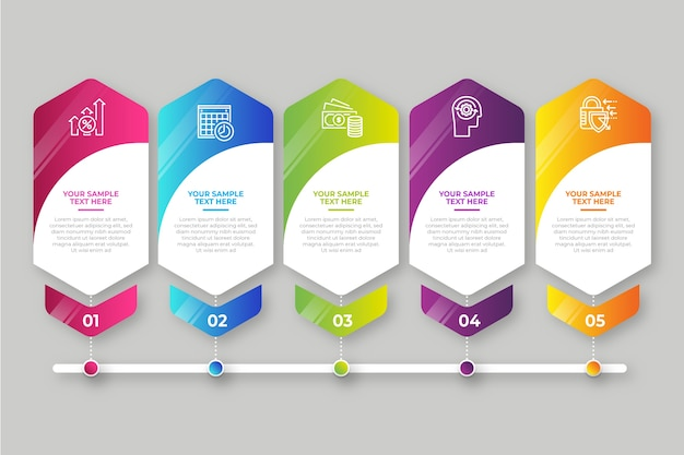 Business steps infographic gradient Free Vector