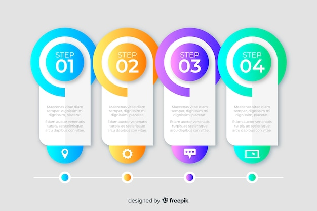 Business steps infographic template Free Vector