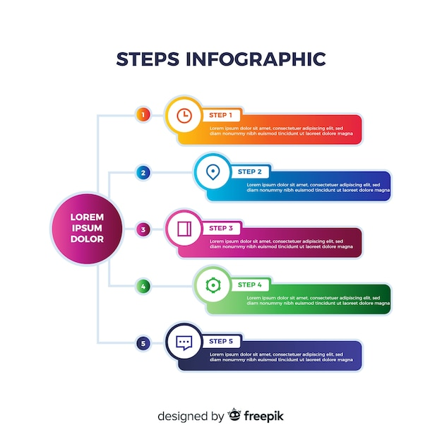 Business steps infographic Free Vector