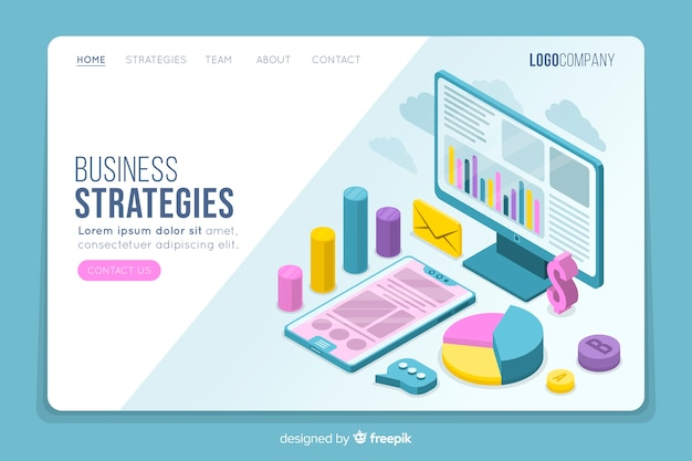 Business strategies isometric landing page Free Vector
