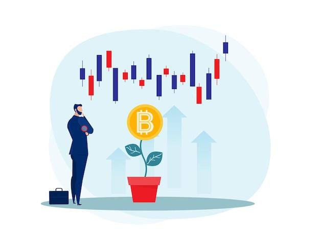 Bitcoin 상향 성장 일러스트와 함께 비즈니스 전략 분석 주식 시장. 프리미엄 벡터