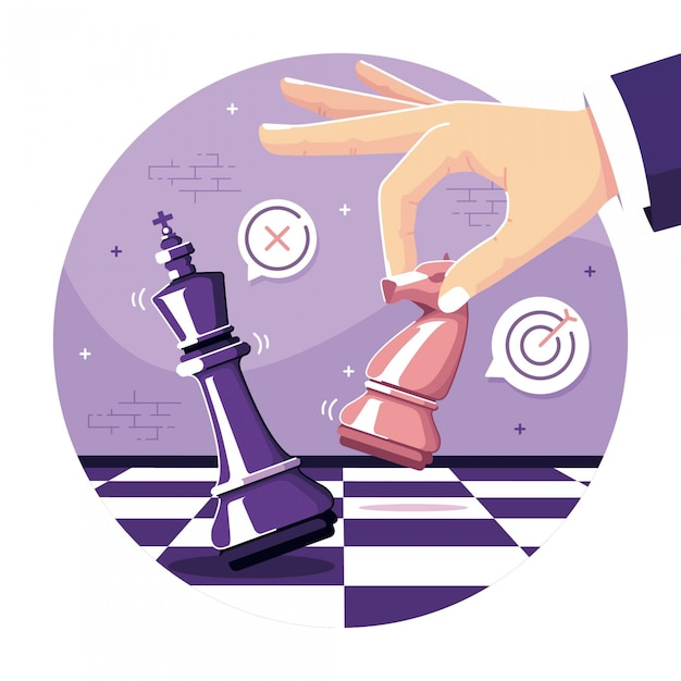 Business strategy chess concept illustration background Premium Vector
