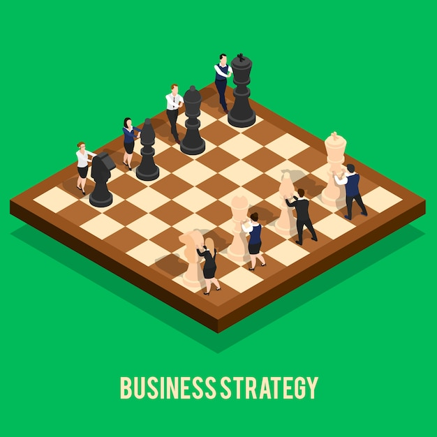 Business strategy chess concept Free Vector