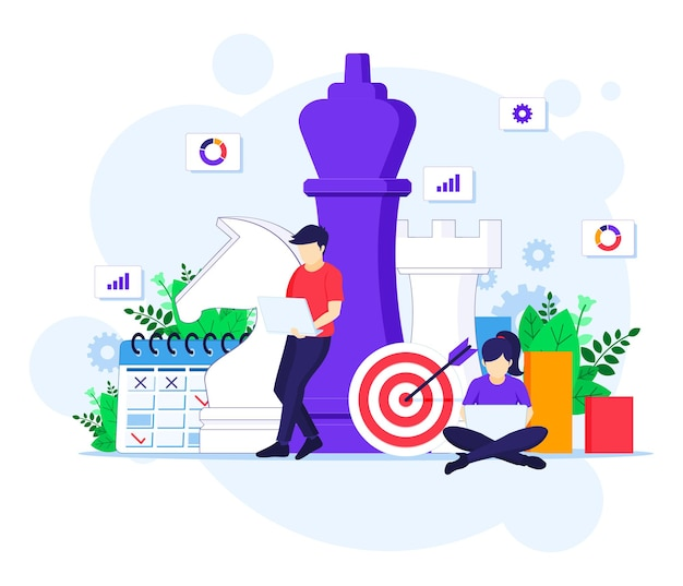 Business strategy concept, people are planning a business strategy concept. team metaphor, target achievement  illustration Premium Vector