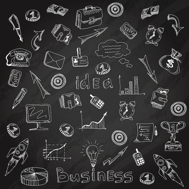 Business strategy icons blackboard chalk sketch Free Vector