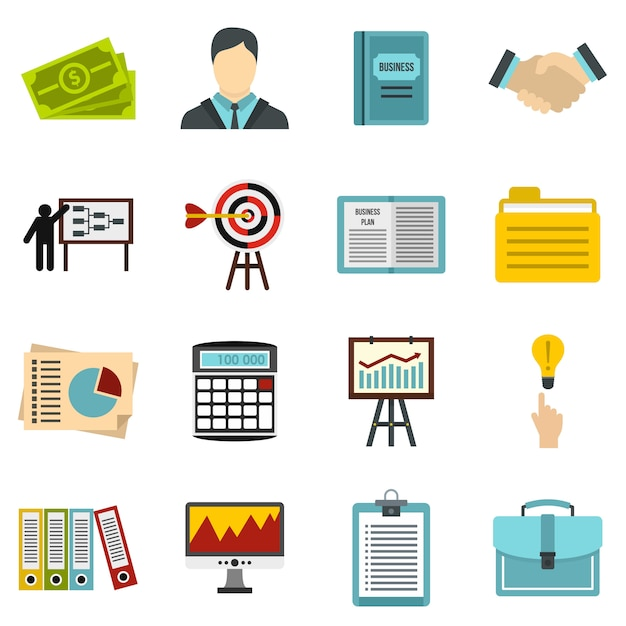 Business strategy icons set Premium Vector