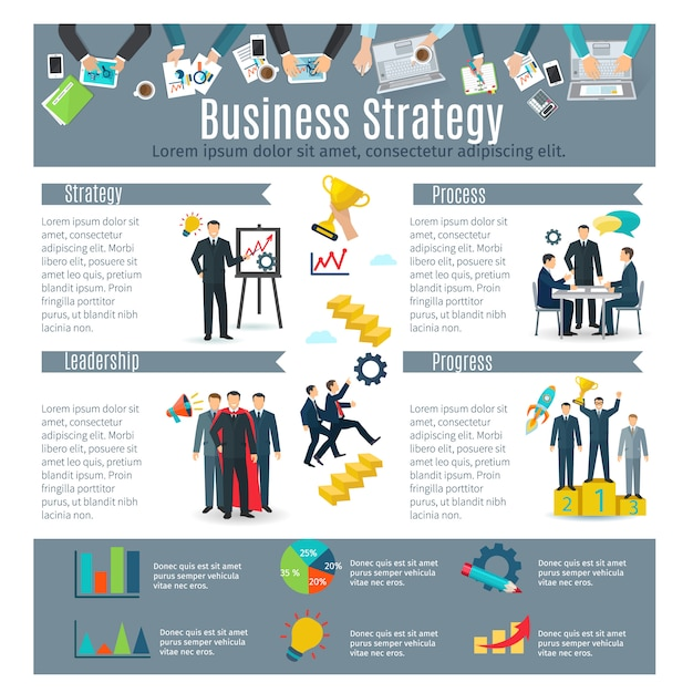 Business strategy infographic set with process and progress symbols Free Vector