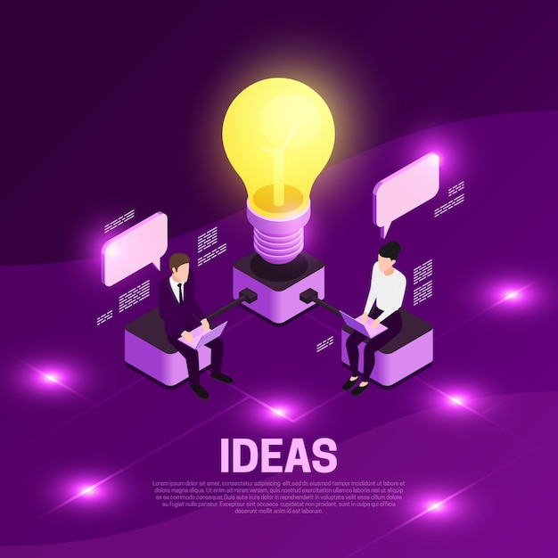 Business strategy isometric concept with ideas symbols violet  illustration Free Vector
