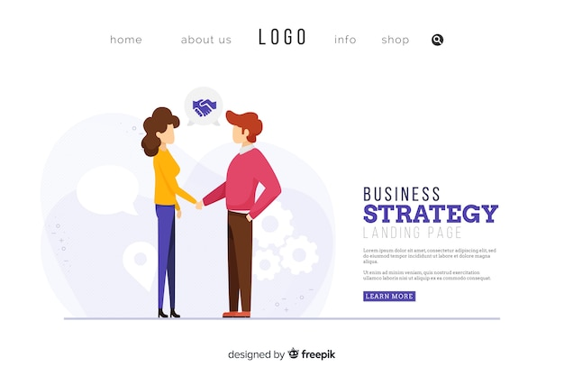 Business strategy landing page design Free Vector