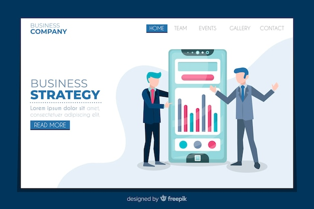 Business strategy landing page flat design Free Vector