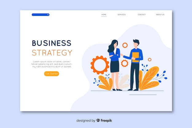 Business strategy landing page in flat design Free Vector