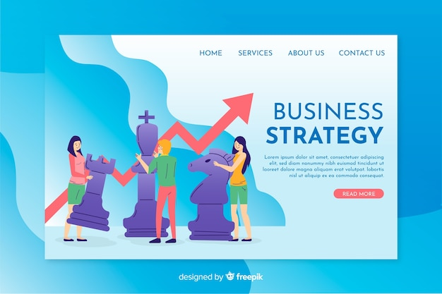 Business strategy landing page template flat design Free Vector