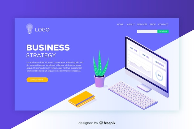 Business Strategy Landing Page Template Vector Free Download