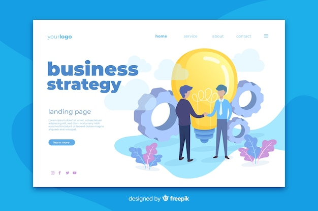 Business strategy landing page template Free Vector