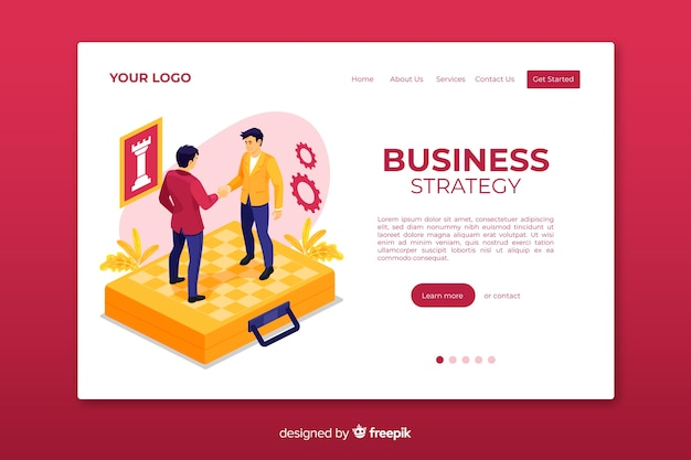 Business strategy landing page web template Free Vector