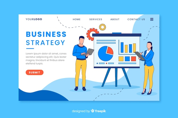 Business strategy landing page with content Free Vector