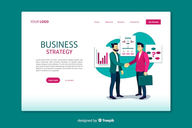 Business strategy landing page with flat design Free Vector