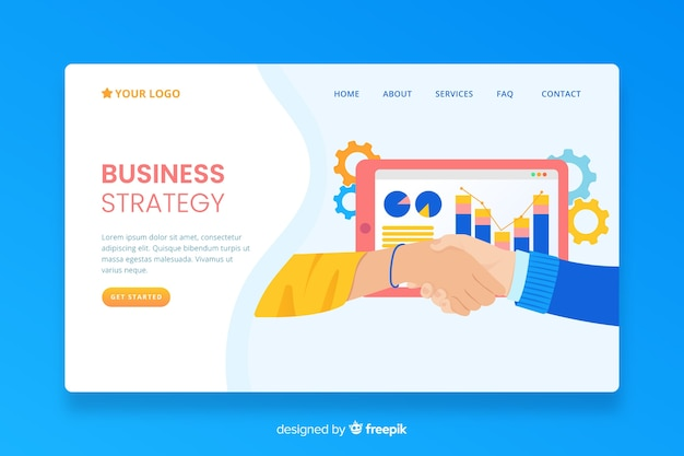 Business strategy landing page with information Free Vector
