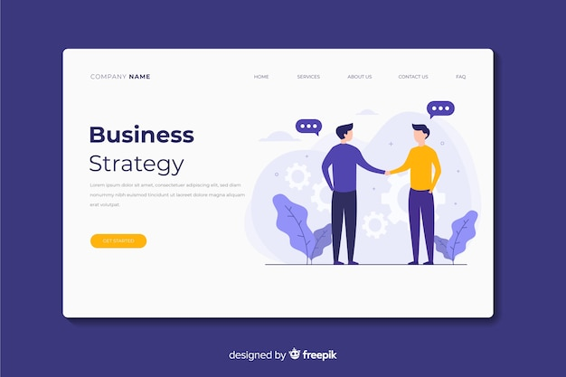 Business strategy landing page Free Vector
