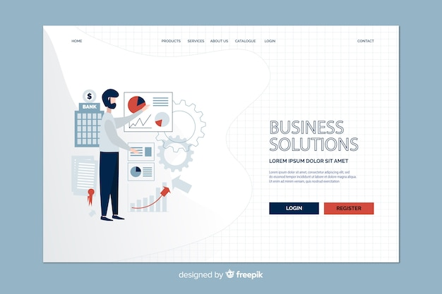 Business strategy and man landing page Free Vector
