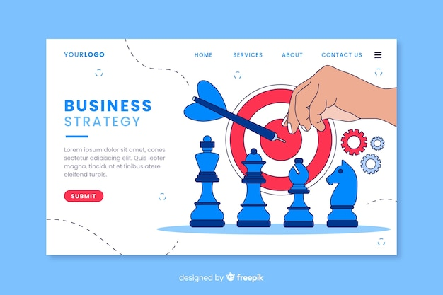 Business strategy with chess pieces landing page Free Vector
