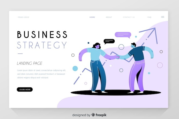 Business strategy with statistics landing page Free Vector