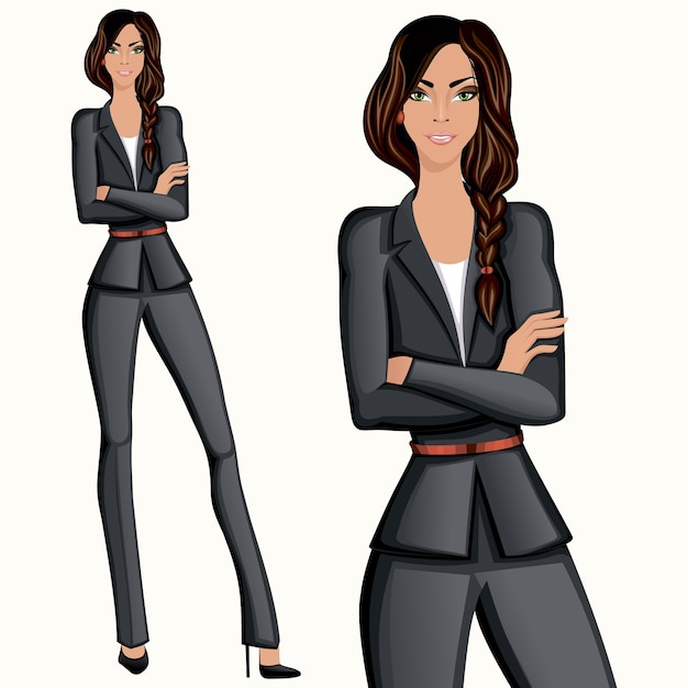 Business style confident attractive\ professional standing businesswoman vector illustration