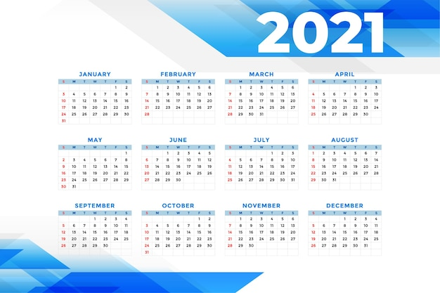 ビジネススタイルの新年カレンダーテンプレート 無料ベクター