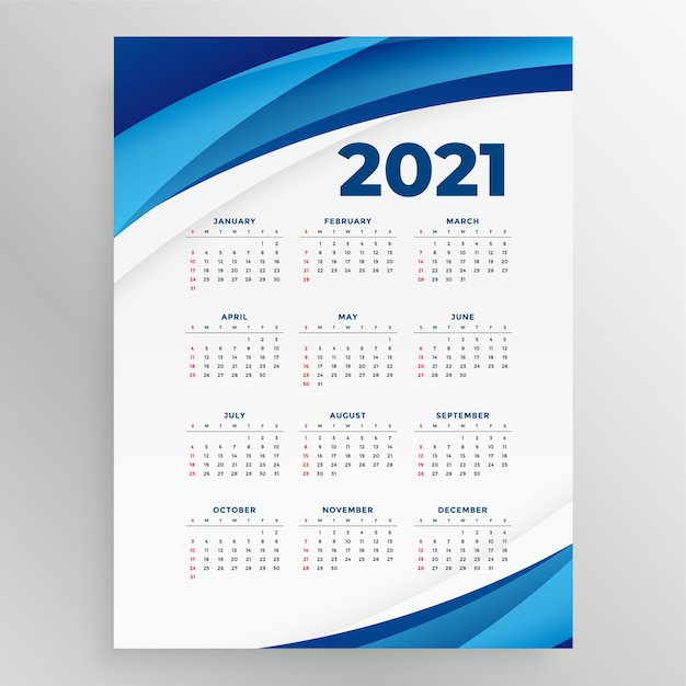 Business style  new year calenday with blue wave Free Vector