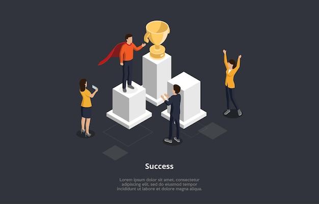 아이소 메트릭 만화 스타일에서 비즈니스 성공 개념 그림입니다. 받침대에 서있는 우승자를 인사하는 남성과 여성 캐릭터의 3d 벡터 구성 프리미엄 벡터