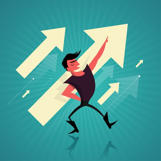 Business Success concept with businessman and Arrows Free Vector