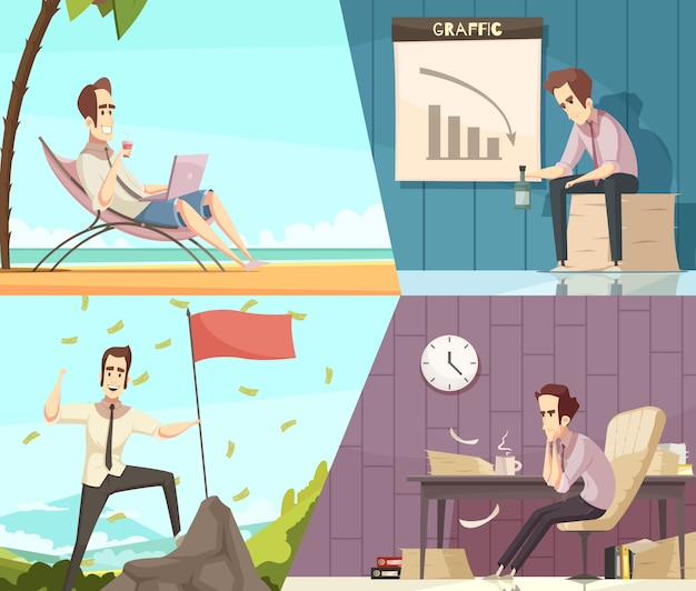 Business success and failure concept 2 retro cartoon banners with money rain and frustration isolated Free Vector