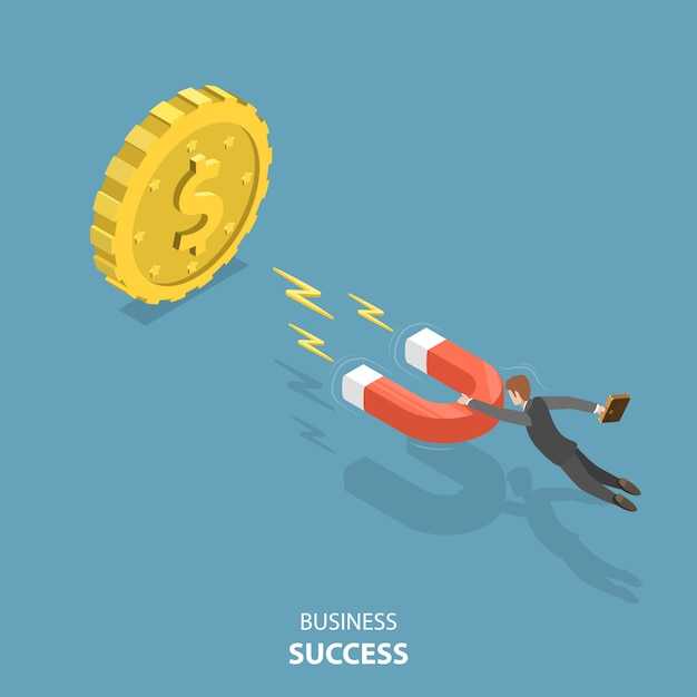 Business success flat isometric low poly vector concept. Premium Vector