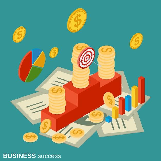Business success flat isometric vector concept illustration Premium Vector